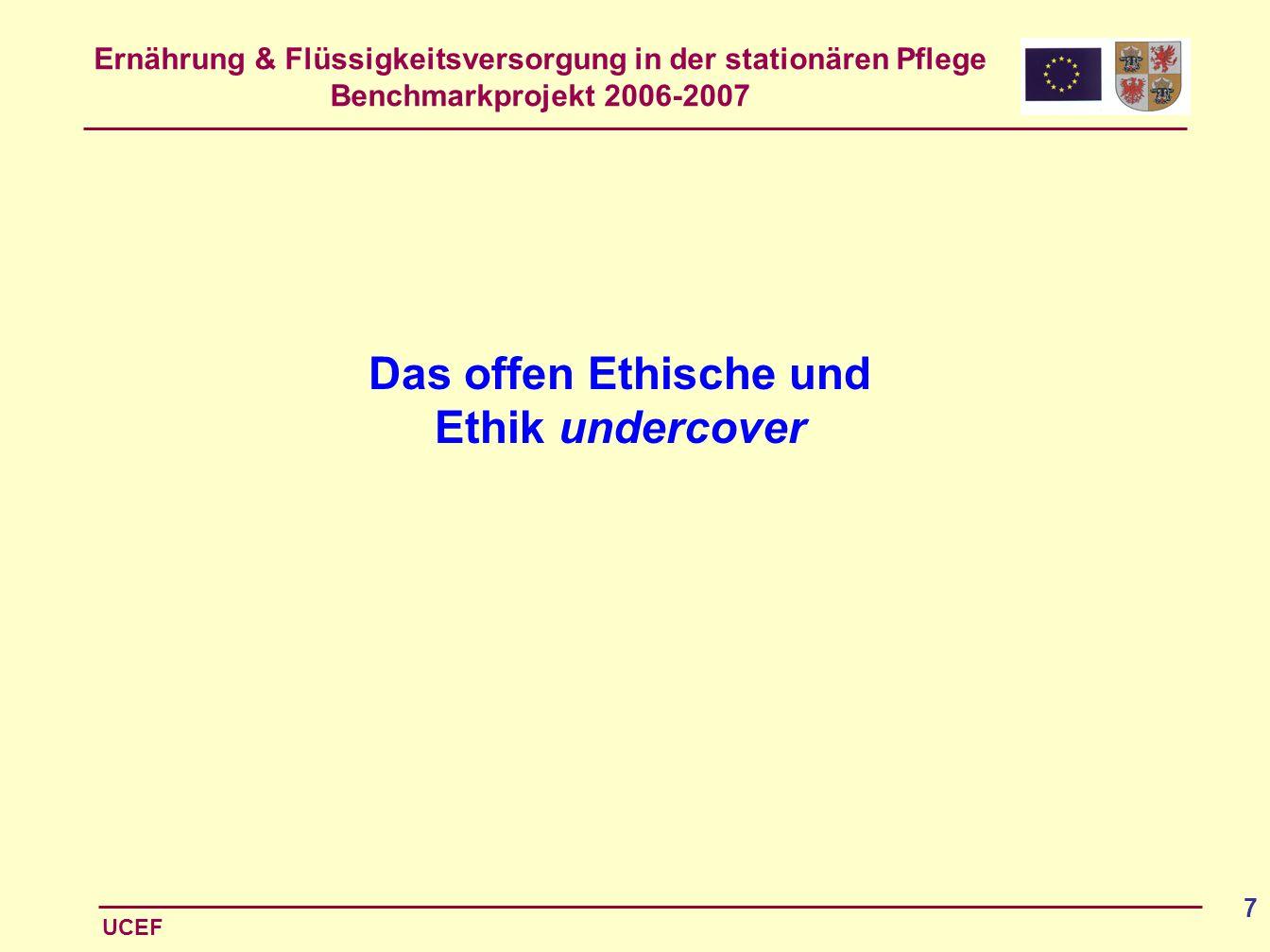 Ernährung & Flüssigkeitsversorgung in der stationären Pflege Benchmarkprojekt 2006-2007 UCEF 7 Das offen Ethische und Ethik undercover