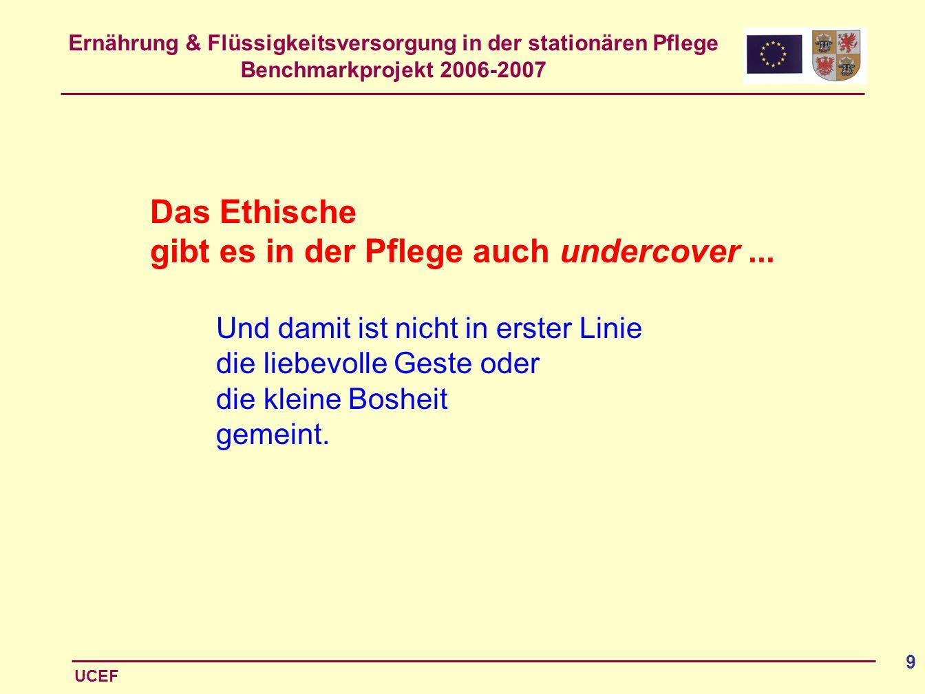 Ernährung & Flüssigkeitsversorgung in der stationären Pflege Benchmarkprojekt 2006-2007 UCEF 9 Das Ethische gibt es in der Pflege auch undercover... U