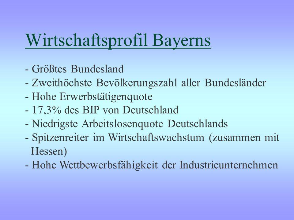 Wirtschaftsprofil Bayerns - Größtes Bundesland - Zweithöchste Bevölkerungszahl aller Bundesländer - Hohe Erwerbstätigenquote - 17,3% des BIP von Deutschland - Niedrigste Arbeitslosenquote Deutschlands - Spitzenreiter im Wirtschaftswachstum (zusammen mit Hessen) - Hohe Wettbewerbsfähigkeit der Industrieunternehmen