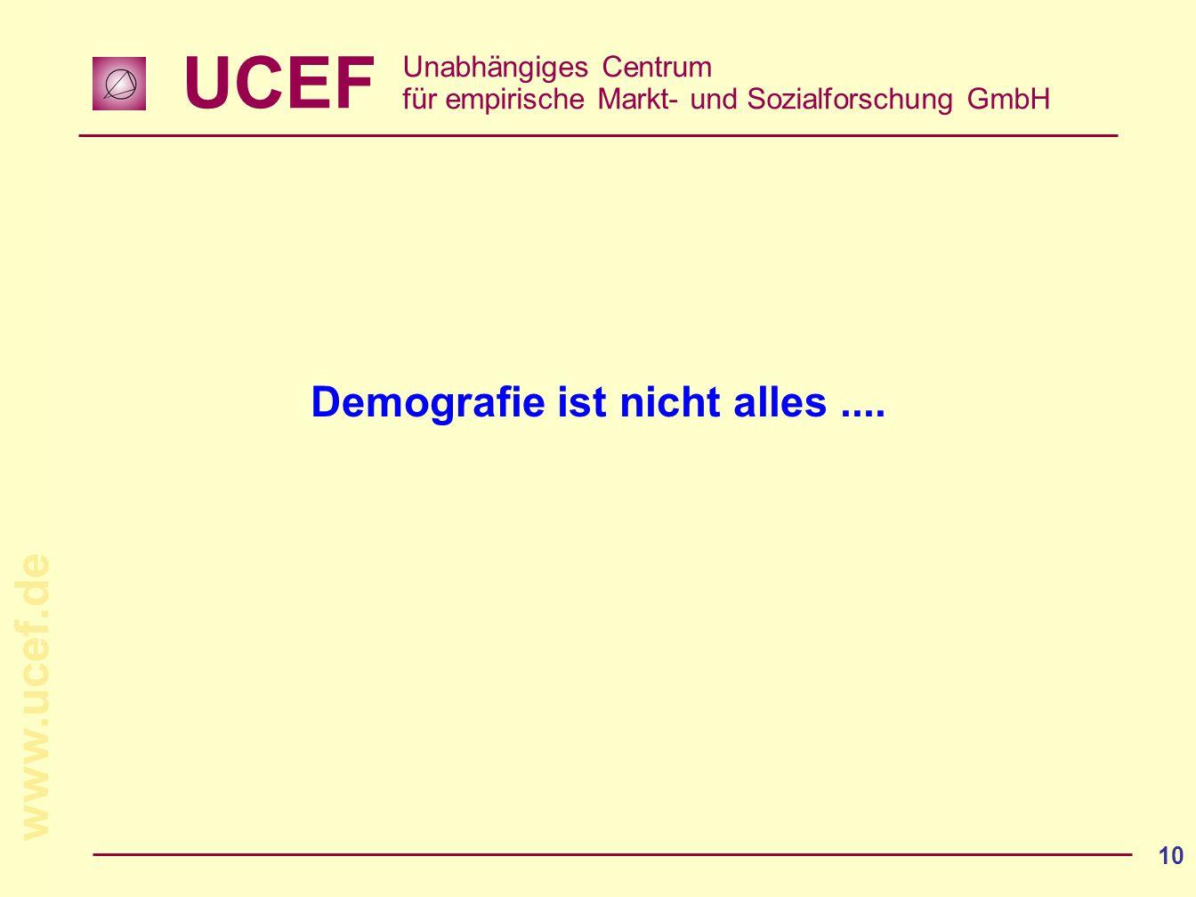 UCEF Unabhängiges Centrum für empirische Markt- und Sozialforschung GmbH www.ucef.de 10 Demografie ist nicht alles....