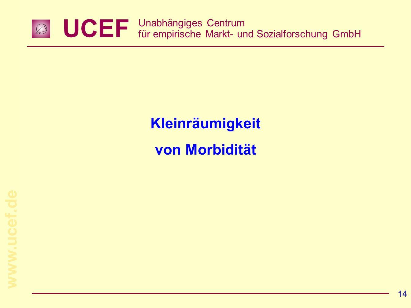 UCEF Unabhängiges Centrum für empirische Markt- und Sozialforschung GmbH www.ucef.de 14 Kleinräumigkeit von Morbidität