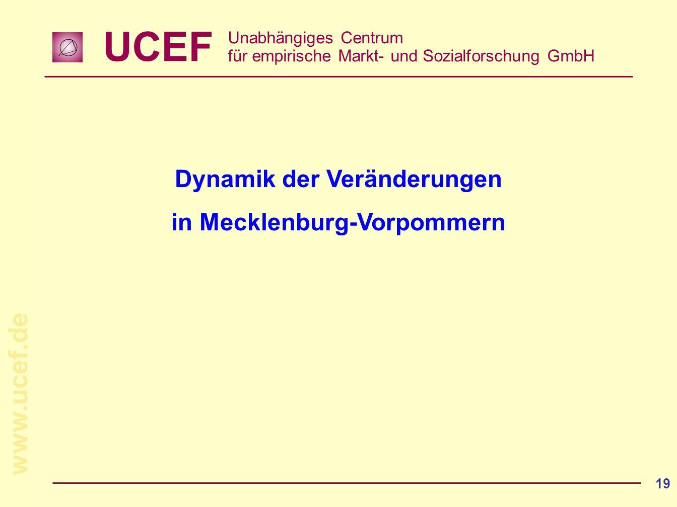 UCEF Unabhängiges Centrum für empirische Markt- und Sozialforschung GmbH www.ucef.de 19 Dynamik der Veränderungen in Mecklenburg-Vorpommern