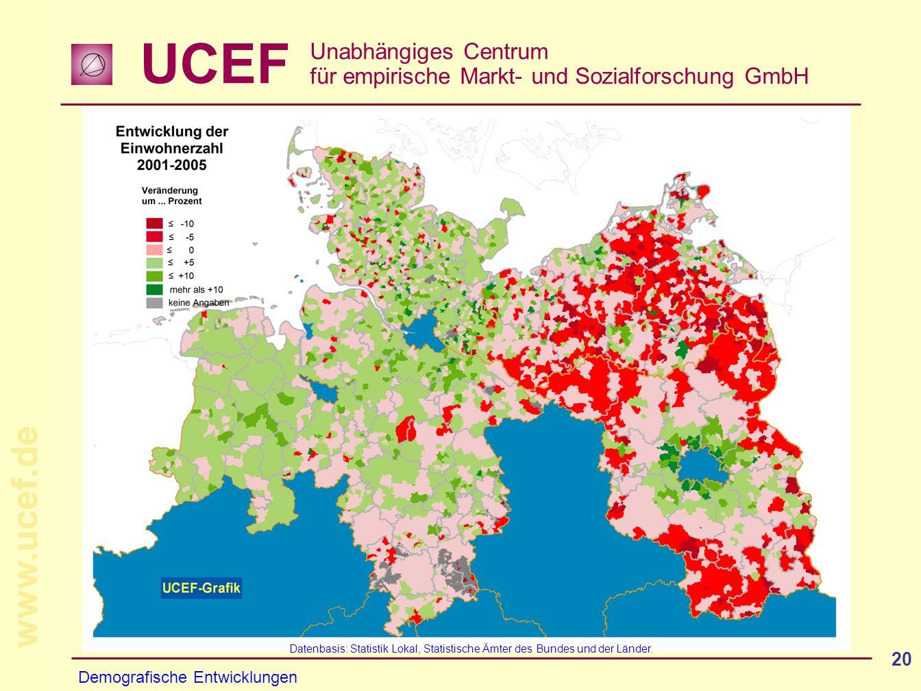 UCEF Unabhängiges Centrum für empirische Markt- und Sozialforschung GmbH www.ucef.de 20 Demografische Entwicklungen Datenbasis: Statistik Lokal, Stati