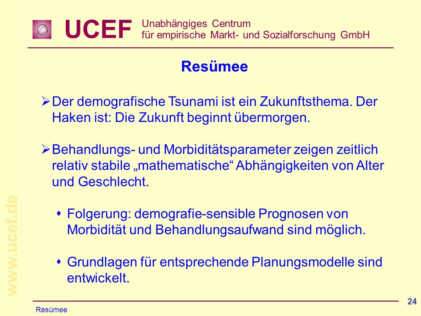 UCEF Unabhängiges Centrum für empirische Markt- und Sozialforschung GmbH www.ucef.de 24 Resümee Der demografische Tsunami ist ein Zukunftsthema. Der H