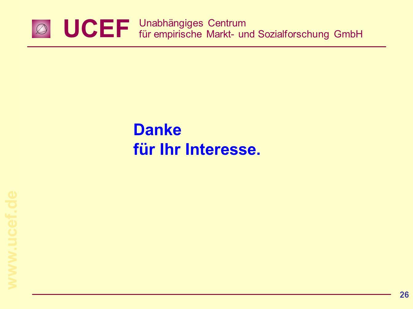 UCEF Unabhängiges Centrum für empirische Markt- und Sozialforschung GmbH www.ucef.de 26 Danke für Ihr Interesse.
