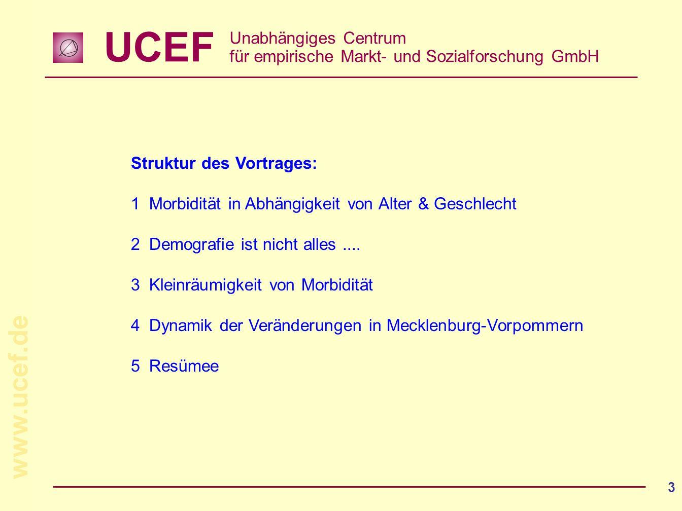 UCEF Unabhängiges Centrum für empirische Markt- und Sozialforschung GmbH www.ucef.de 3 Struktur des Vortrages: 1Morbidität in Abhängigkeit von Alter &