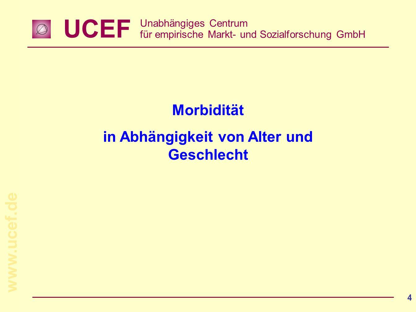 UCEF Unabhängiges Centrum für empirische Markt- und Sozialforschung GmbH www.ucef.de 4 Morbidität in Abhängigkeit von Alter und Geschlecht