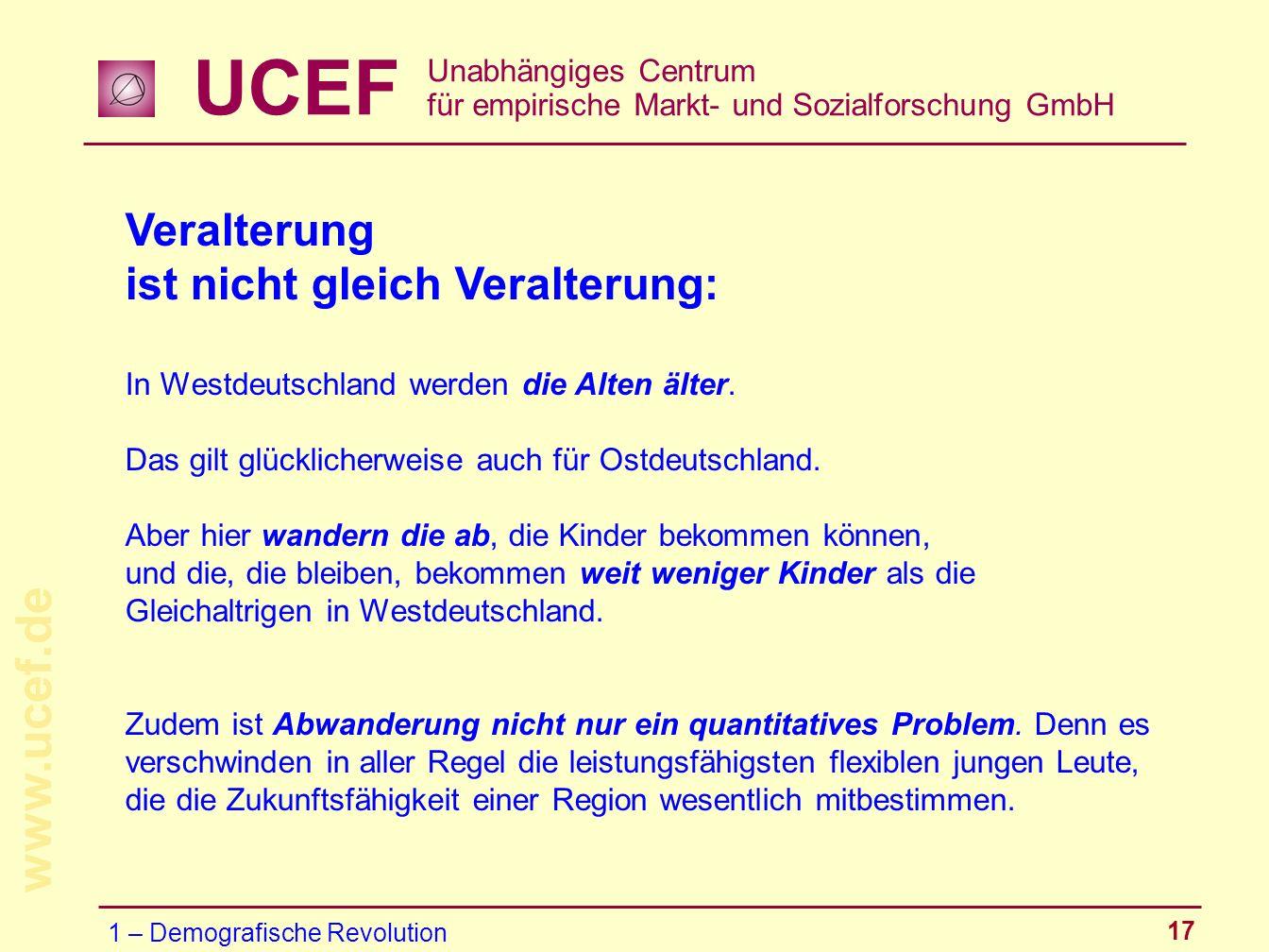 UCEF Unabhängiges Centrum für empirische Markt- und Sozialforschung GmbH www.ucef.de 17 Veralterung ist nicht gleich Veralterung: In Westdeutschland w