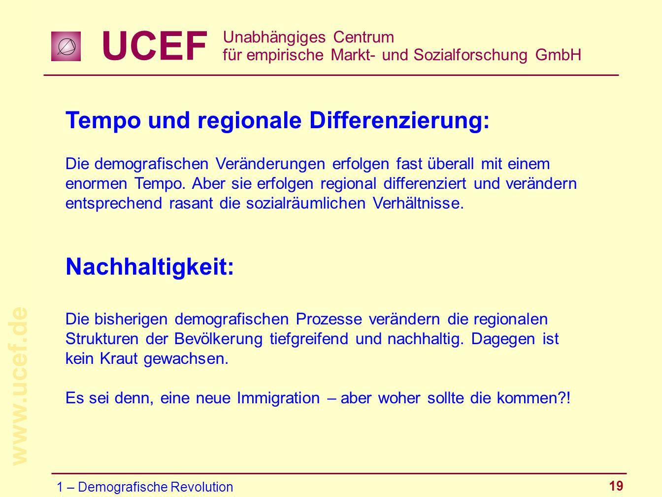 UCEF Unabhängiges Centrum für empirische Markt- und Sozialforschung GmbH www.ucef.de 19 Tempo und regionale Differenzierung: Die demografischen Veränd