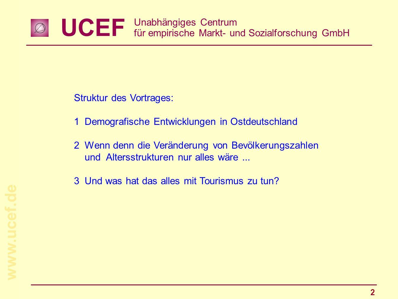 UCEF Unabhängiges Centrum für empirische Markt- und Sozialforschung GmbH www.ucef.de 2 Struktur des Vortrages: 1Demografische Entwicklungen in Ostdeut