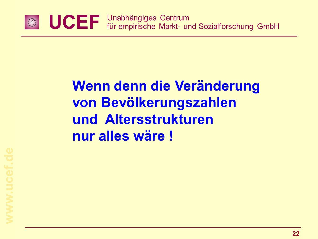 UCEF Unabhängiges Centrum für empirische Markt- und Sozialforschung GmbH www.ucef.de 22 Wenn denn die Veränderung von Bevölkerungszahlen und Altersstr