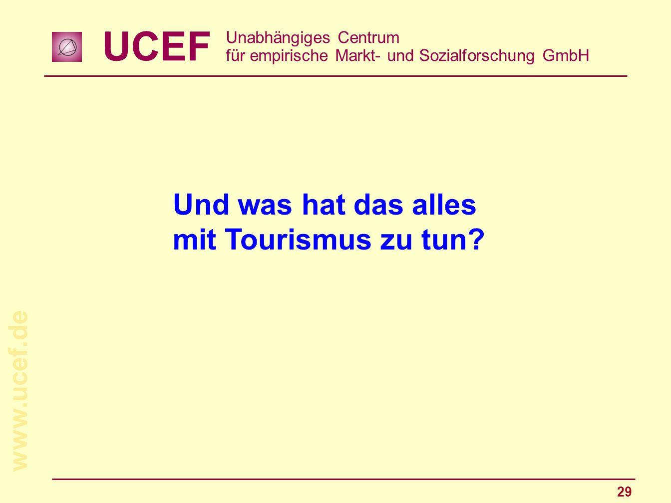 UCEF Unabhängiges Centrum für empirische Markt- und Sozialforschung GmbH www.ucef.de 29 Und was hat das alles mit Tourismus zu tun?