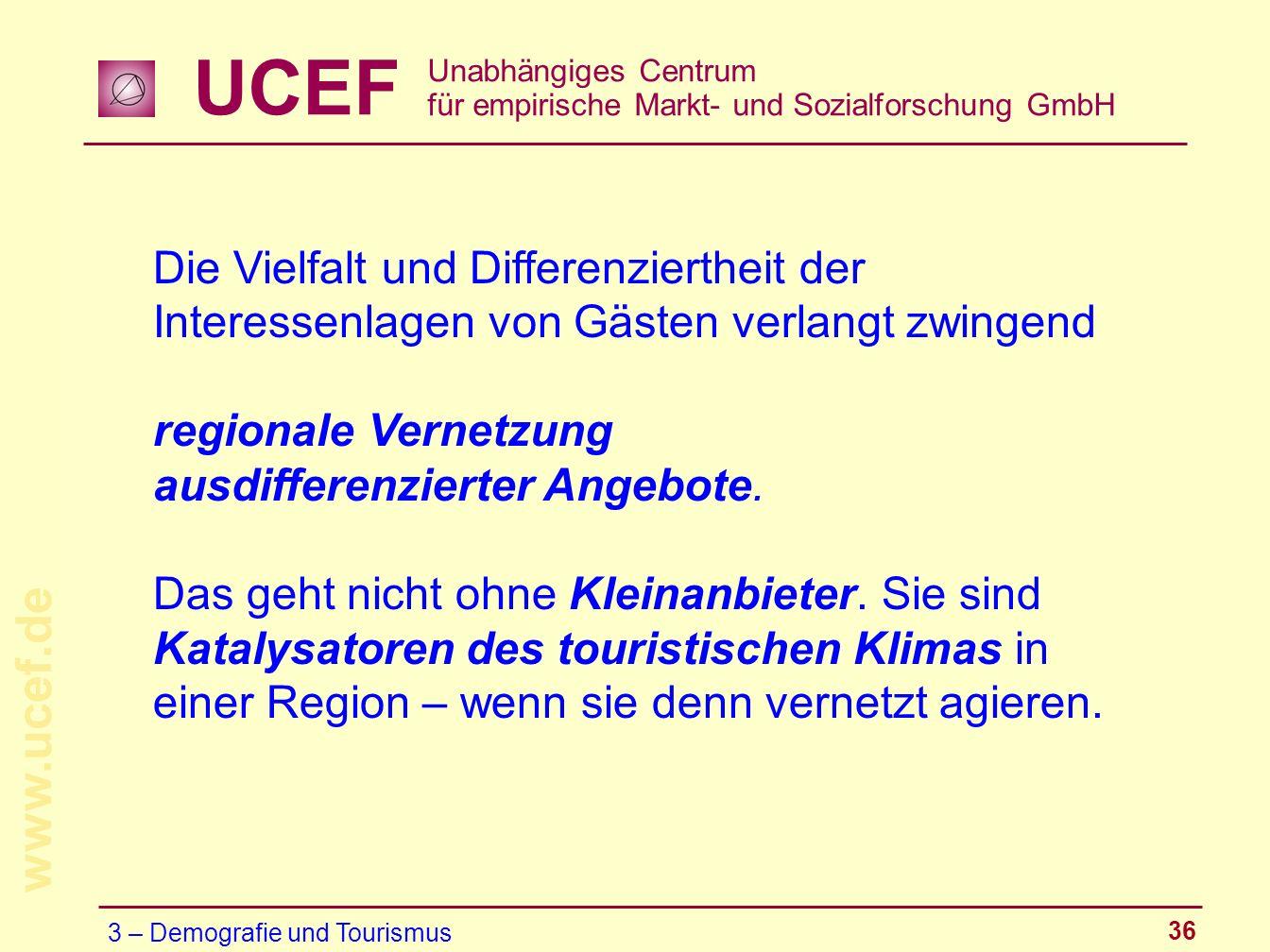 UCEF Unabhängiges Centrum für empirische Markt- und Sozialforschung GmbH www.ucef.de 36 Die Vielfalt und Differenziertheit der Interessenlagen von Gäs