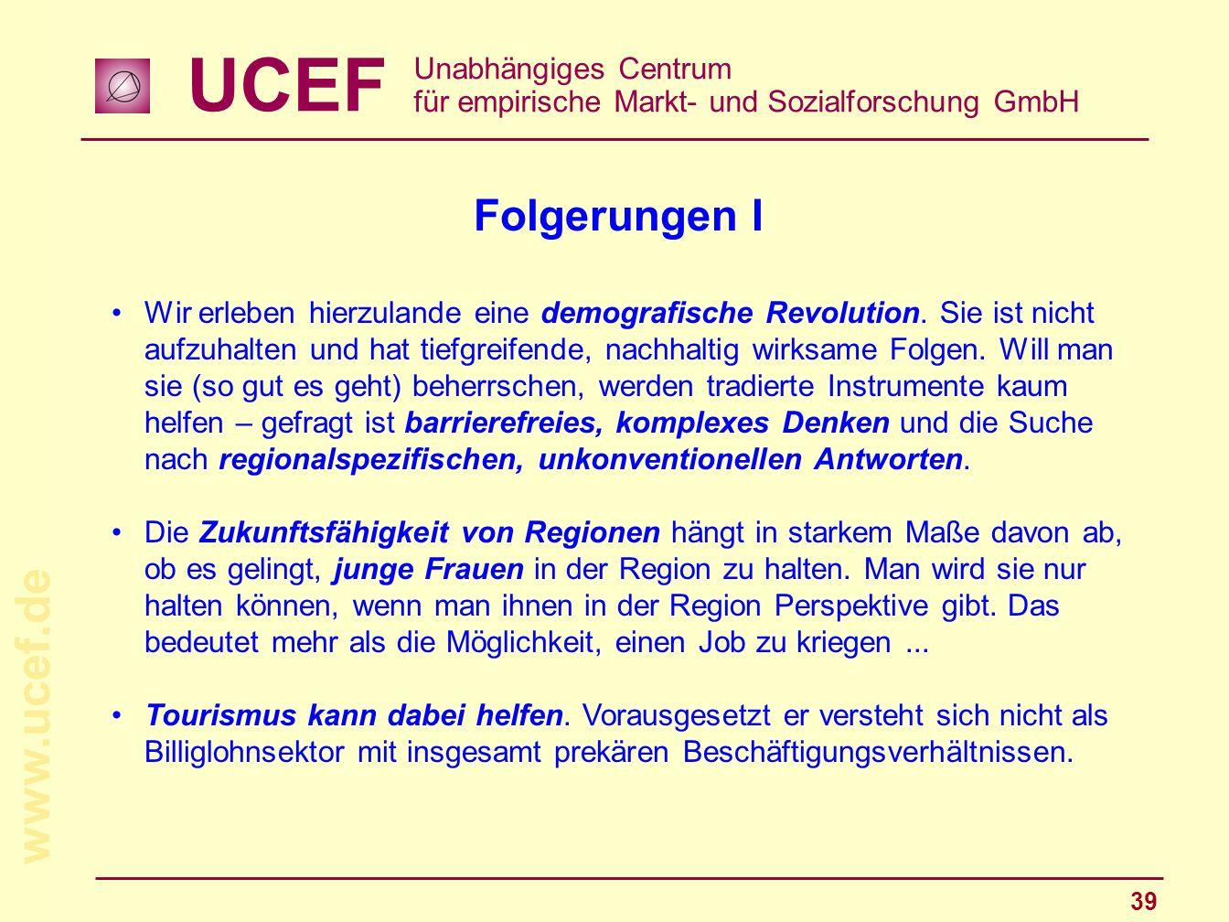 UCEF Unabhängiges Centrum für empirische Markt- und Sozialforschung GmbH www.ucef.de 39 Folgerungen I Wir erleben hierzulande eine demografische Revol