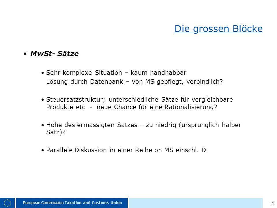 11 European Commission Taxation and Customs Union Die grossen Blöcke MwSt- Sätze Sehr komplexe Situation – kaum handhabbar Lösung durch Datenbank – von MS gepflegt, verbindlich.