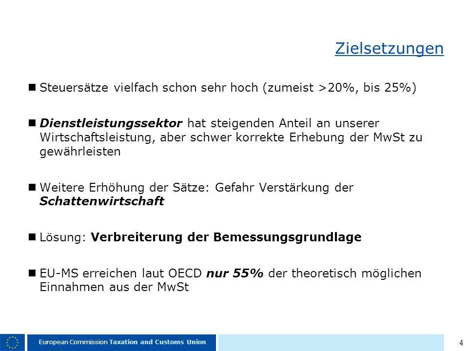 4 European Commission Taxation and Customs Union Zielsetzungen Steuersätze vielfach schon sehr hoch (zumeist >20%, bis 25%) Dienstleistungssektor hat steigenden Anteil an unserer Wirtschaftsleistung, aber schwer korrekte Erhebung der MwSt zu gewährleisten Weitere Erhöhung der Sätze: Gefahr Verstärkung der Schattenwirtschaft Lösung: Verbreiterung der Bemessungsgrundlage EU-MS erreichen laut OECD nur 55% der theoretisch möglichen Einnahmen aus der MwSt