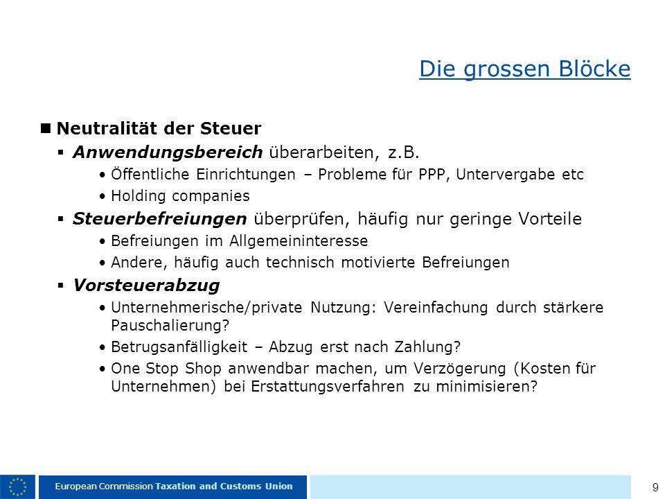 9 European Commission Taxation and Customs Union Die grossen Blöcke Neutralität der Steuer Anwendungsbereich überarbeiten, z.B.