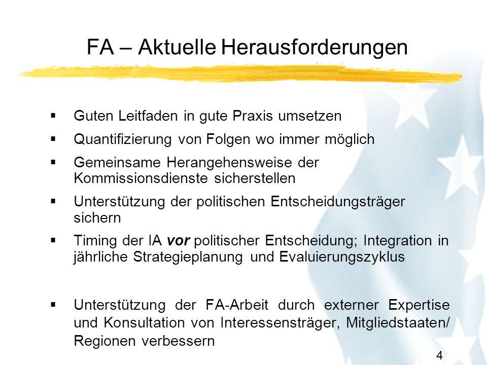 5 FA - Timing und Transparenz Herbst n-1: Fahrpläne (Roadmaps) Dezember n-1: Jährlicher Verwaltungsplan jedes Kommissionsdienstes (Annual Management Plan)