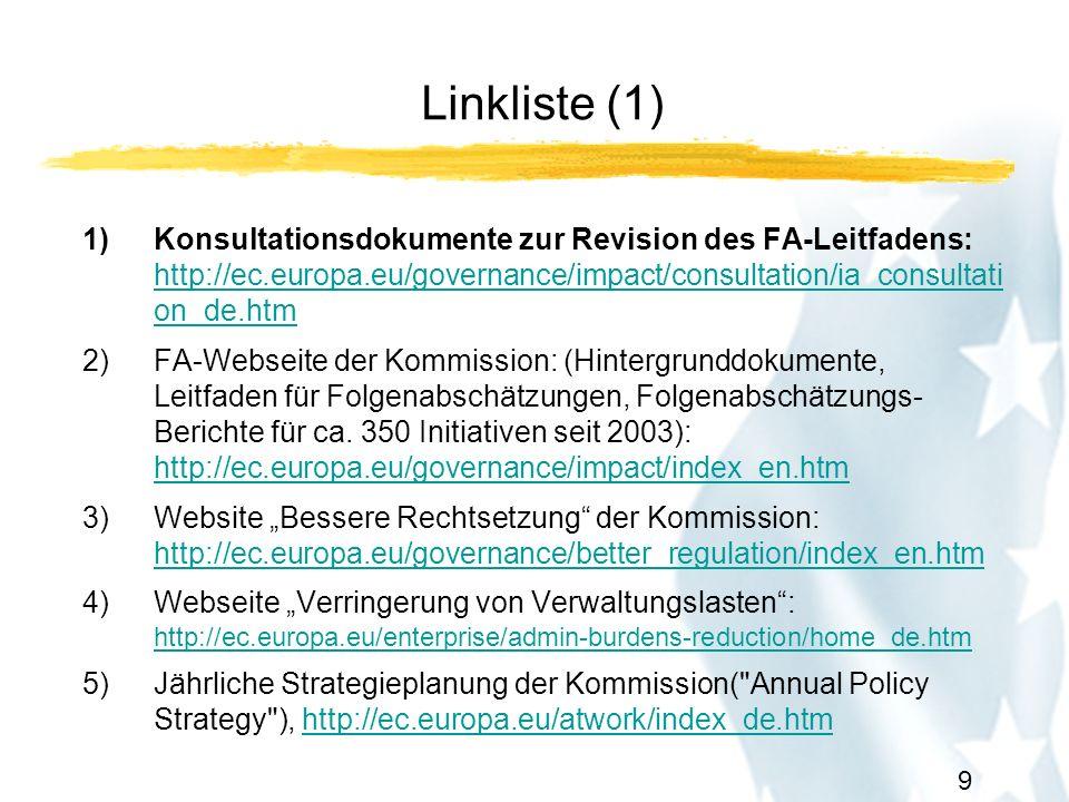 10 Linkliste (2) 6)Jährliches Arbeitsprogramm der Kommission incl.