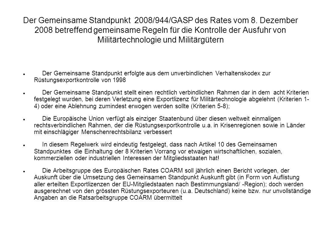 Der Gemeinsame Standpunkt 2008/944/GASP des Rates vom 8.