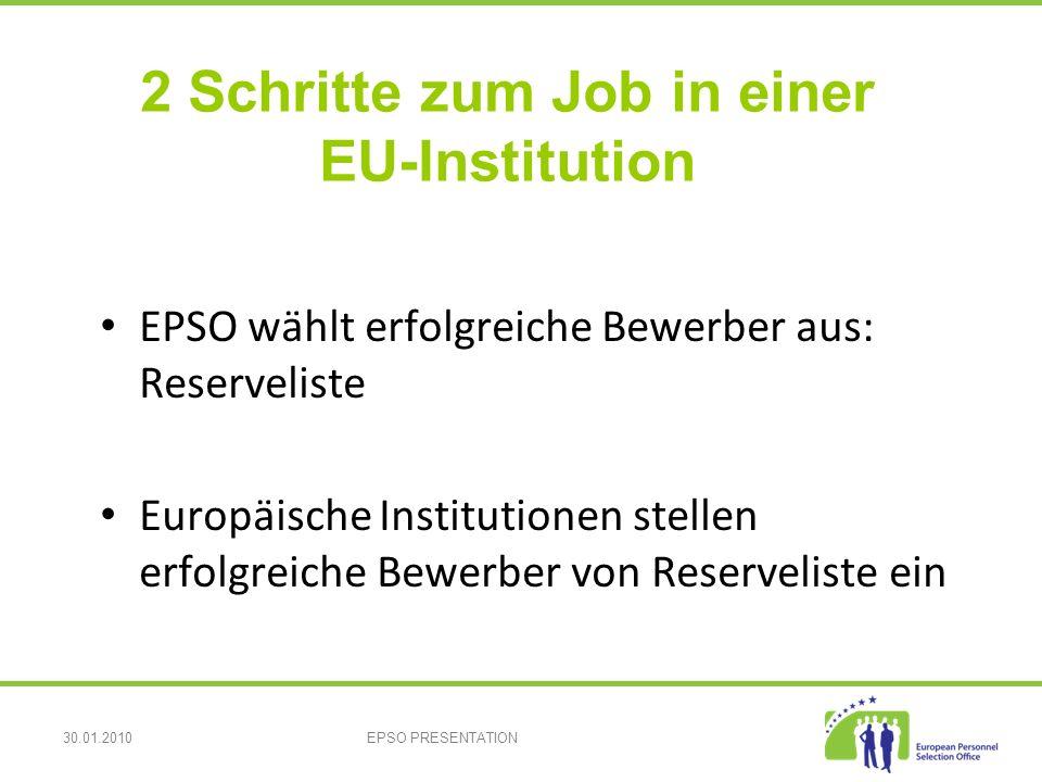 30.01.2010EPSO PRESENTATION EPSO wählt erfolgreiche Bewerber aus: Reserveliste Europäische Institutionen stellen erfolgreiche Bewerber von Reserveliste ein 2 Schritte zum Job in einer EU-Institution