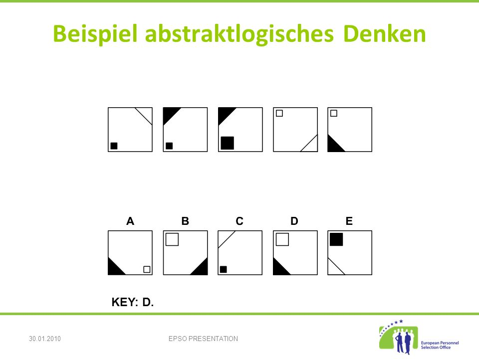 30.01.2010EPSO PRESENTATION Beispiel abstraktlogisches Denken KEY: D.