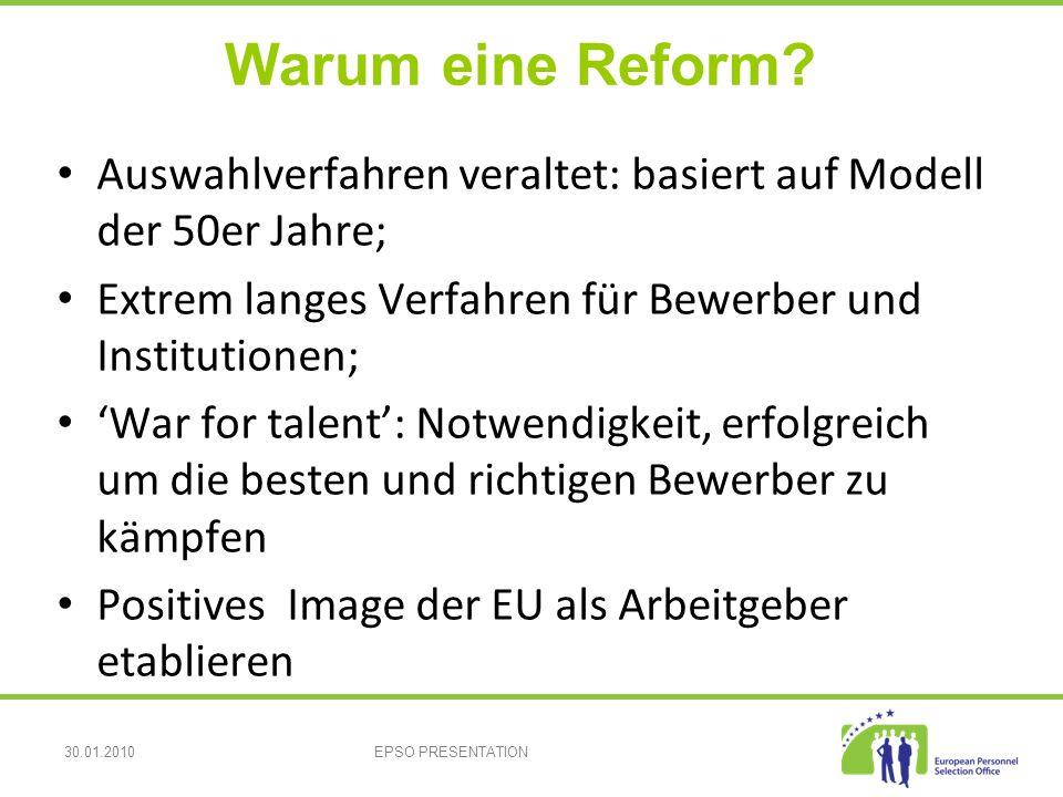 30.01.2010EPSO PRESENTATION Warum eine Reform.