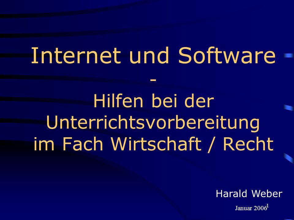 1 Internet und Software - Hilfen bei der Unterrichtsvorbereitung im Fach Wirtschaft / Recht Harald Weber Januar 2006