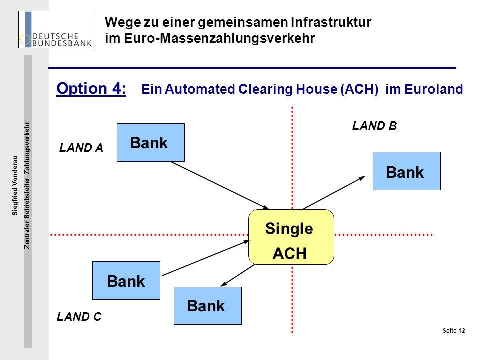 Siegfried Vonderau Zentraler Betriebsleiter Zahlungsverkehr Seite 12 Wege zu einer gemeinsamen Infrastruktur im Euro-Massenzahlungsverkehr Option 4: E