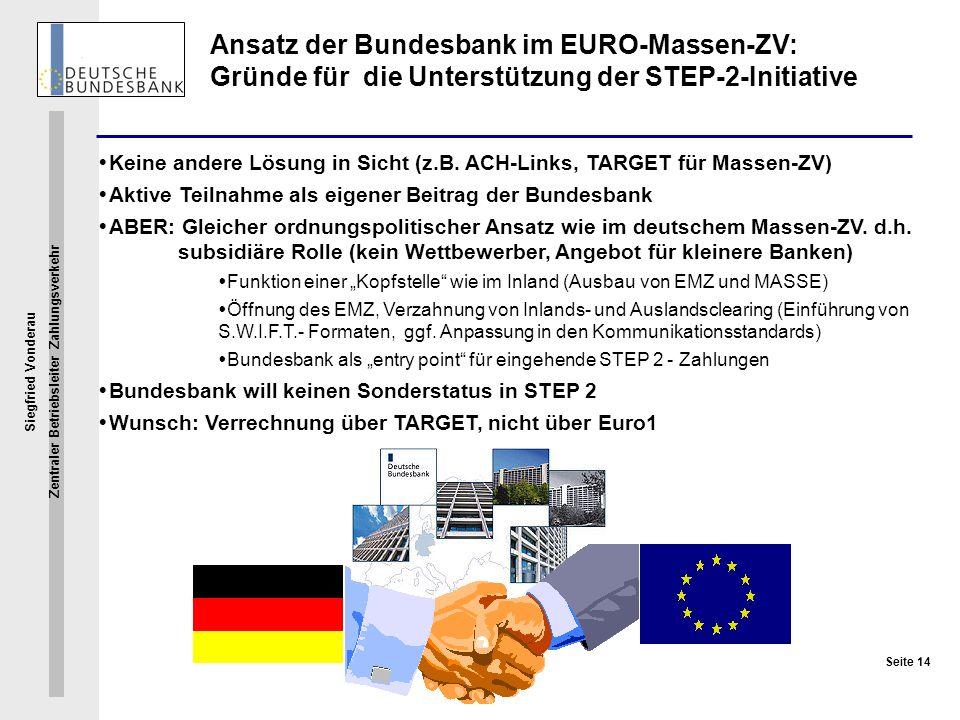 Siegfried Vonderau Zentraler Betriebsleiter Zahlungsverkehr Seite 14 Ansatz der Bundesbank im EURO-Massen-ZV: Gründe für die Unterstützung der STEP-2-