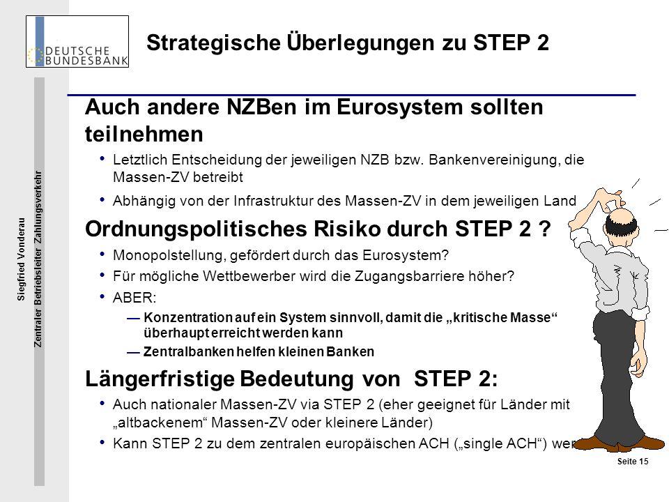 Siegfried Vonderau Zentraler Betriebsleiter Zahlungsverkehr Seite 15 Strategische Überlegungen zu STEP 2 Auch andere NZBen im Eurosystem sollten teiln