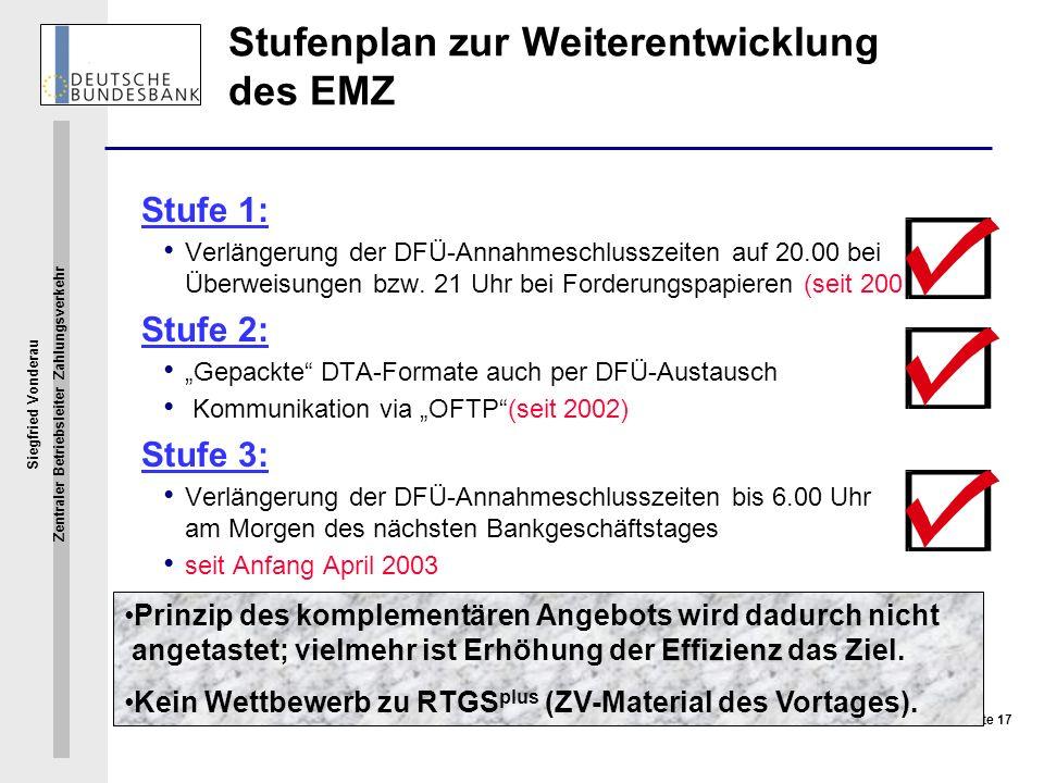 Siegfried Vonderau Zentraler Betriebsleiter Zahlungsverkehr Seite 17 Stufenplan zur Weiterentwicklung des EMZ Stufe 1: Verlängerung der DFÜ-Annahmesch