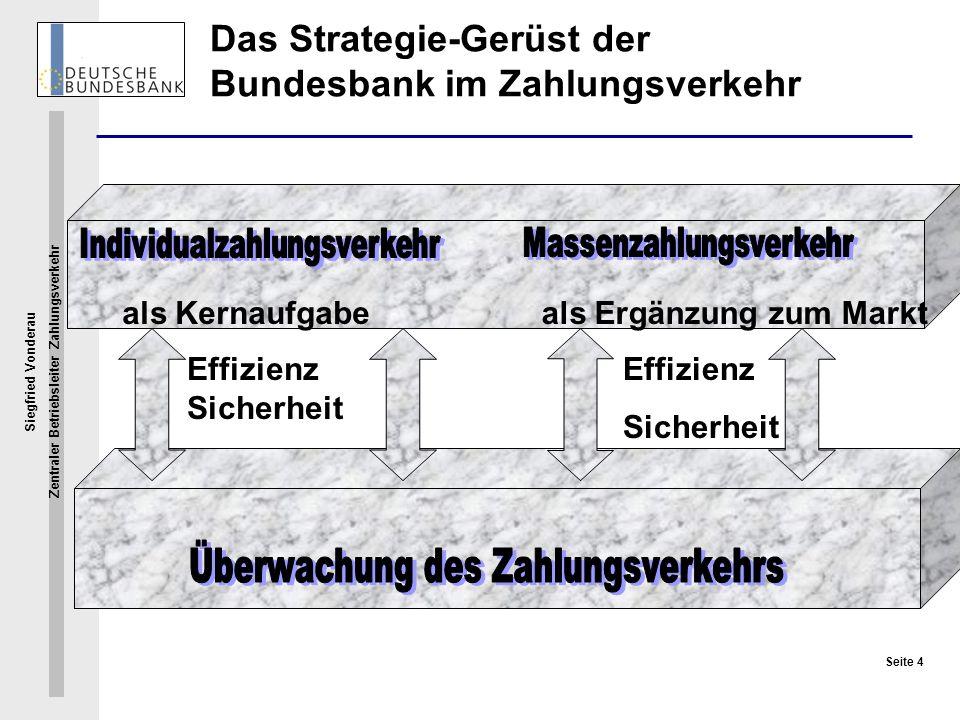 Siegfried Vonderau Zentraler Betriebsleiter Zahlungsverkehr Seite 4 als Kernaufgabeals Ergänzung zum Markt Effizienz Sicherheit Effizienz Sicherheit D