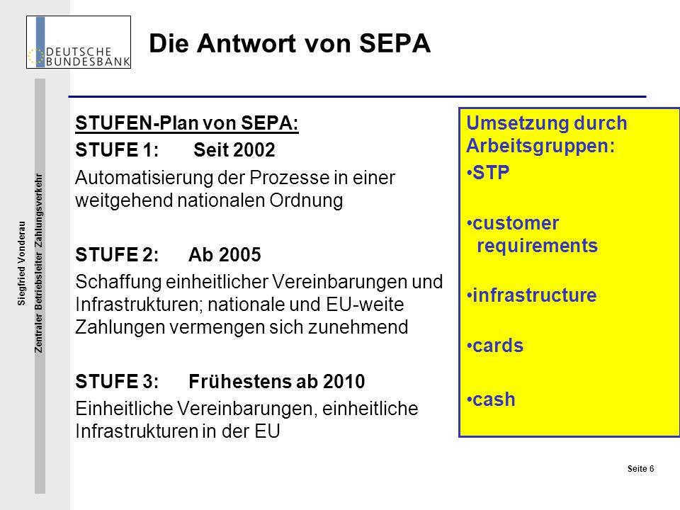 Siegfried Vonderau Zentraler Betriebsleiter Zahlungsverkehr Seite 6 Die Antwort von SEPA STUFEN-Plan von SEPA: STUFE 1: Seit 2002 Automatisierung der