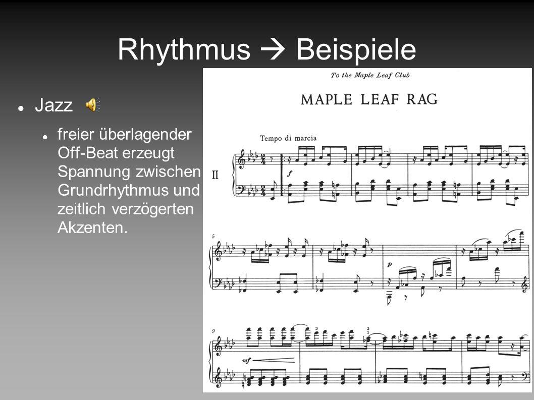 Rhythmus Beispiele Popmusik Beat Metrum im Vordergrund