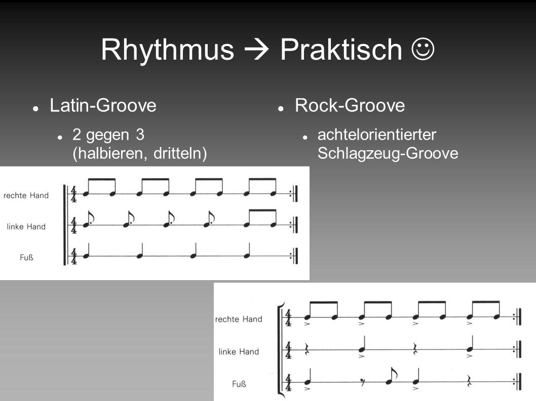 Rhythmus Beispiele Jazz freier überlagender Off-Beat erzeugt Spannung zwischen Grundrhythmus und zeitlich verzögerten Akzenten.