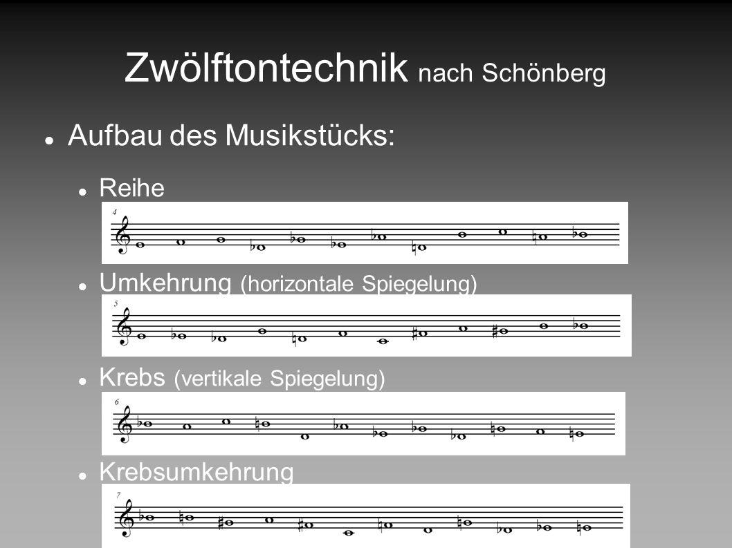 Zwölftontechnik nach Schönberg Grundlage: Reihe besteht aus 12 unterschiedlichen Tönen Nur Notennamen wichtig (nicht deren Oktavlage!) kein Ton darf d