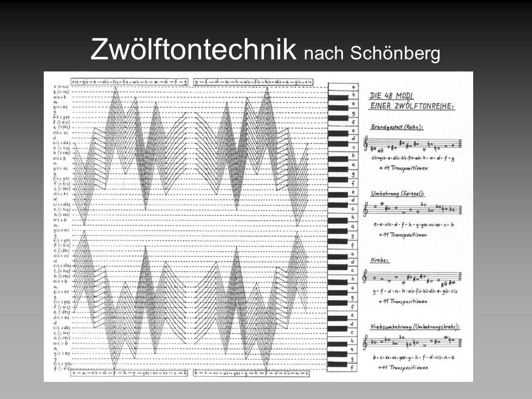 Zwölftontechnik nach Schönberg 12 Transpositionen möglich Reihe kann vertikal, horizontal, ausschnittsweise verwendet werden freier Rhythmus (nicht vo
