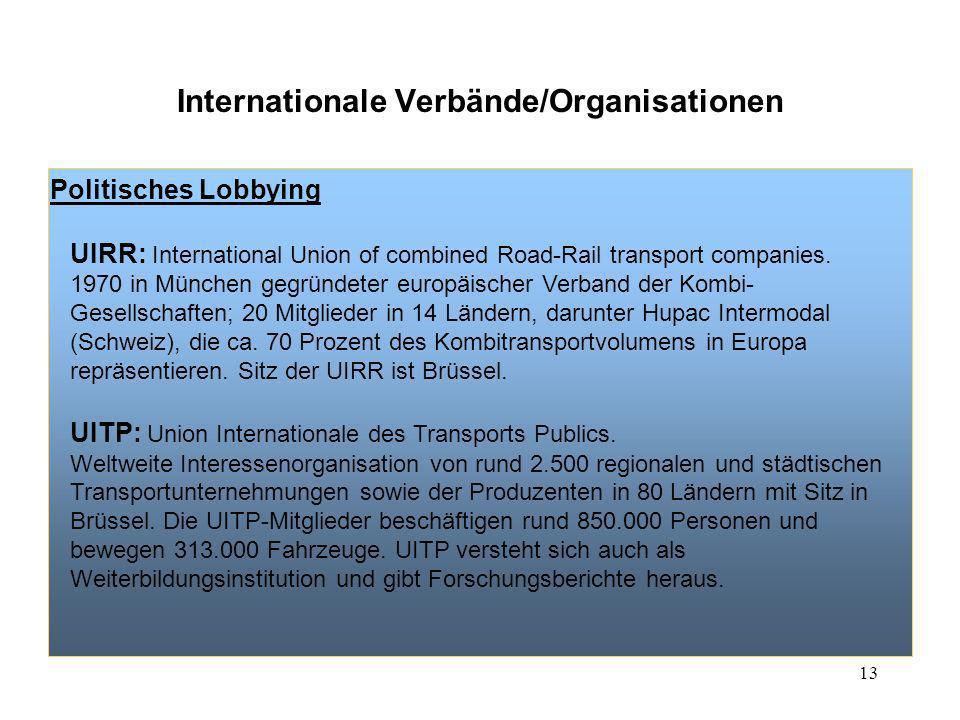 13 Internationale Verbände/Organisationen Politisches Lobbying UIRR: International Union of combined Road-Rail transport companies. 1970 in München ge