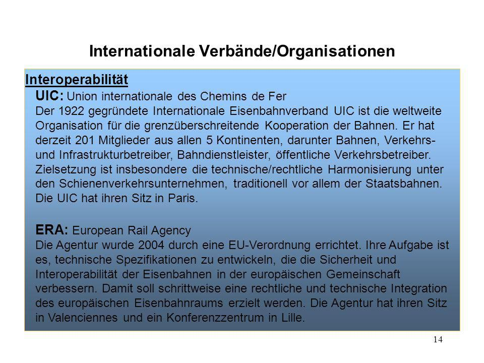 14 Internationale Verbände/Organisationen Interoperabilität UIC: Union internationale des Chemins de Fer Der 1922 gegründete Internationale Eisenbahnv
