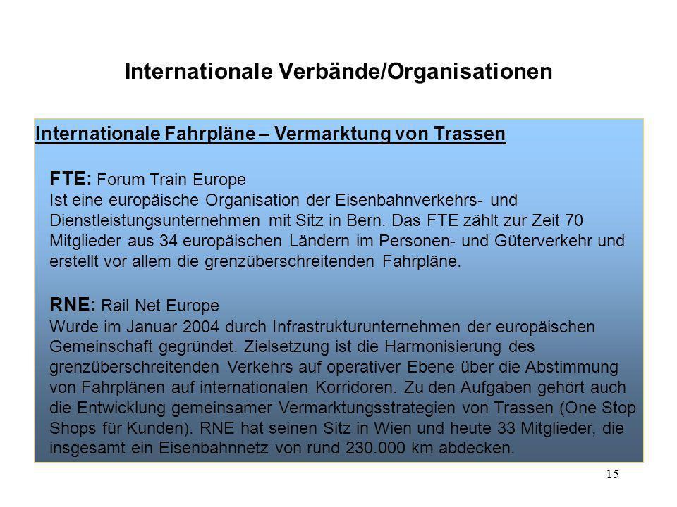 15 Internationale Verbände/Organisationen Internationale Fahrpläne – Vermarktung von Trassen FTE: Forum Train Europe Ist eine europäische Organisation