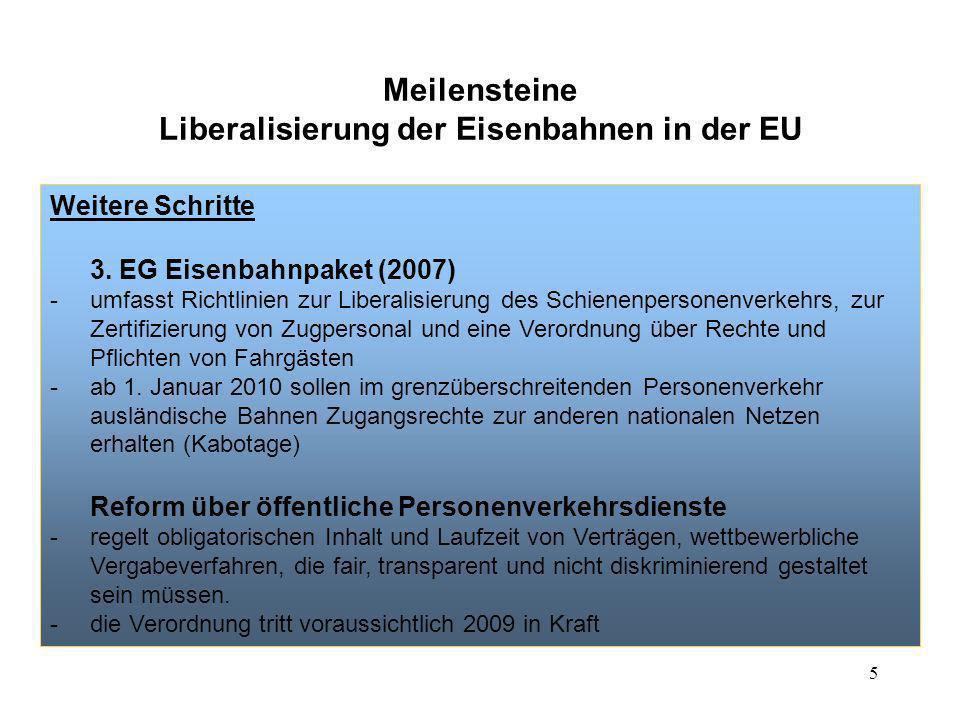 5 Meilensteine Liberalisierung der Eisenbahnen in der EU Weitere Schritte 3. EG Eisenbahnpaket (2007) -umfasst Richtlinien zur Liberalisierung des Sch