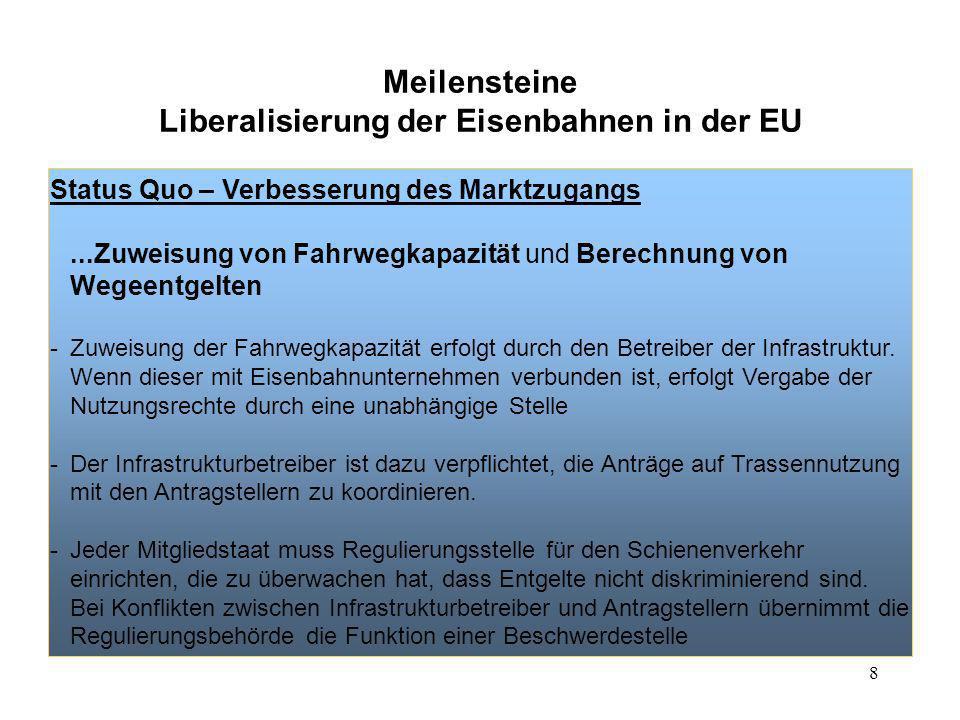 8 Meilensteine Liberalisierung der Eisenbahnen in der EU Status Quo – Verbesserung des Marktzugangs...Zuweisung von Fahrwegkapazität und Berechnung vo