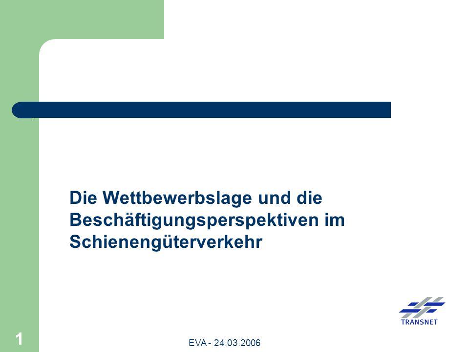 EVA - 24.03.2006 22 Auswirkungen der Wettbewerbsituation im Schienengüterverkehr auf die Beschäftigungsverhältnisse (1) In Deutschland sind beinahe 50 % der Beschäftigungsverhältnisse im Schienengüterverkehr weggebrochen.