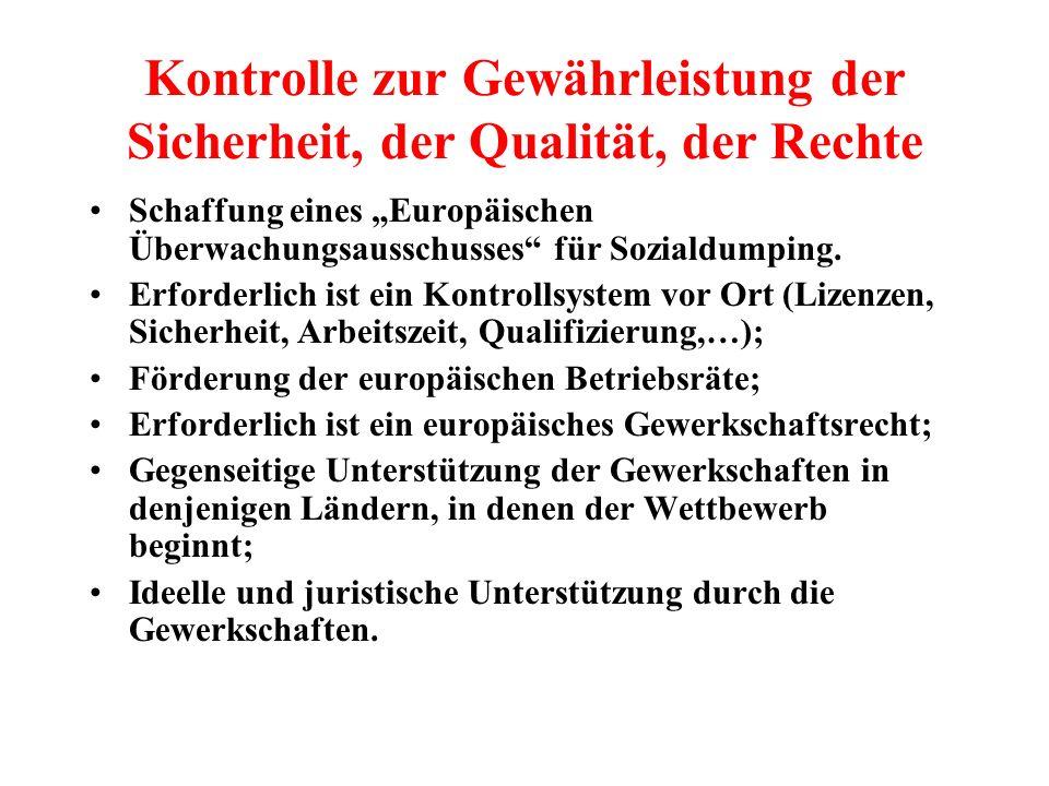 Kontrolle zur Gewährleistung der Sicherheit, der Qualität, der Rechte Schaffung eines Europäischen Überwachungsausschusses für Sozialdumping. Erforder