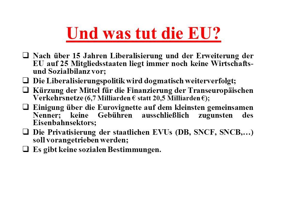 Und was tut die EU? Nach über 15 Jahren Liberalisierung und der Erweiterung der EU auf 25 Mitgliedsstaaten liegt immer noch keine Wirtschafts- und Soz