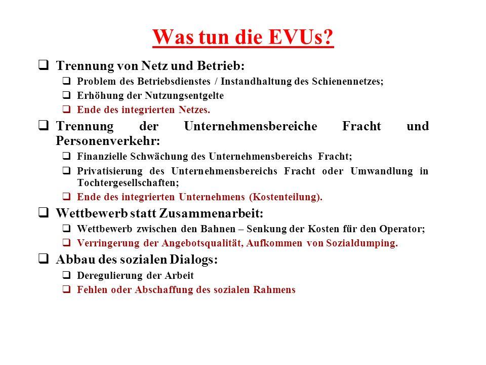 Was tun die EVUs? Trennung von Netz und Betrieb: Problem des Betriebsdienstes / Instandhaltung des Schienennetzes; Erhöhung der Nutzungsentgelte Ende