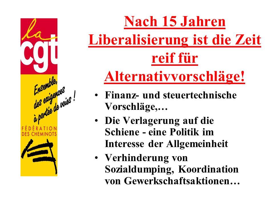 Nach 15 Jahren Liberalisierung ist die Zeit reif für Alternativvorschläge! Finanz- und steuertechnische Vorschläge,… Die Verlagerung auf die Schiene -