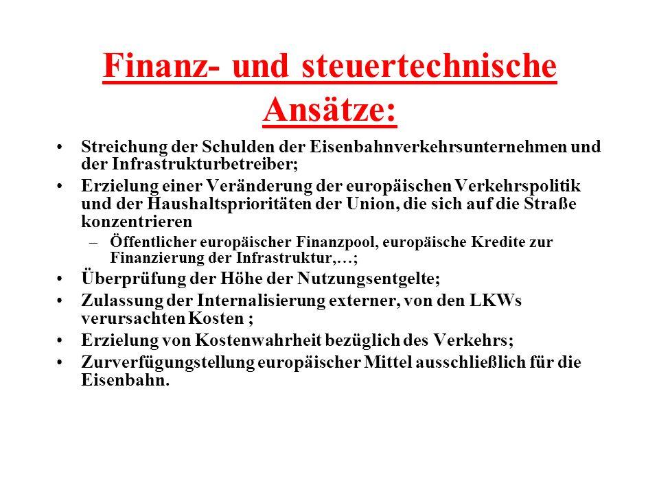 Finanz- und steuertechnische Ansätze: Streichung der Schulden der Eisenbahnverkehrsunternehmen und der Infrastrukturbetreiber; Erzielung einer Verände