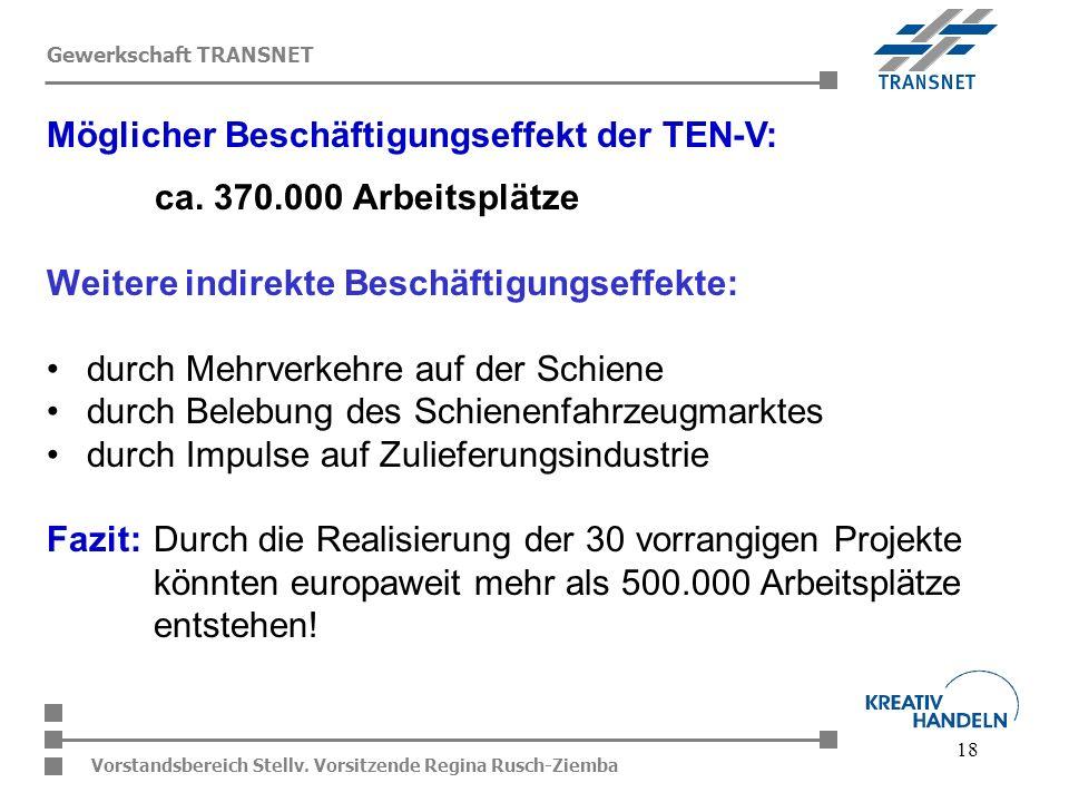 18 Vorstandsbereich Stellv. Vorsitzende Regina Rusch-Ziemba Gewerkschaft TRANSNET ca. 370.000 Arbeitsplätze Weitere indirekte Beschäftigungseffekte: d